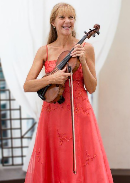 Christine orange dress and violin